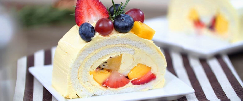 สูตรเบเกอรี่   เค้กโรลผลไม้