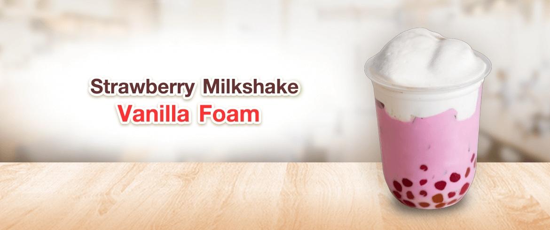 เมนูเครื่องดื่ม   Strawberry Milkshake Vanilla Foam